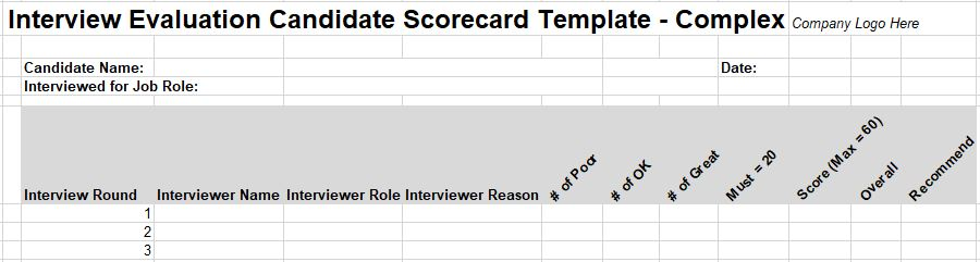 Free Interview Evaluation Forms  Scorecard Templates