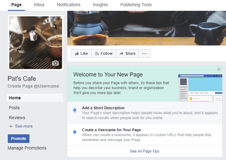 facebook business page - add business info