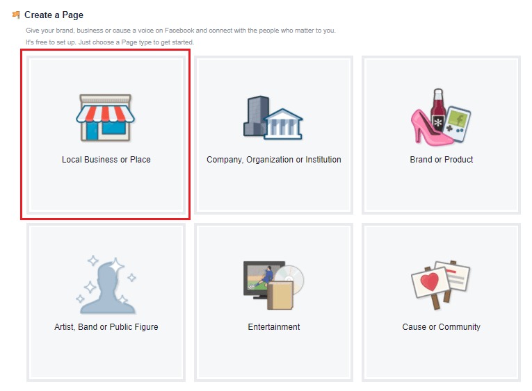 facebook business page for local businesses