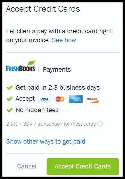 Accept Credit Card Payments in FreshBooks