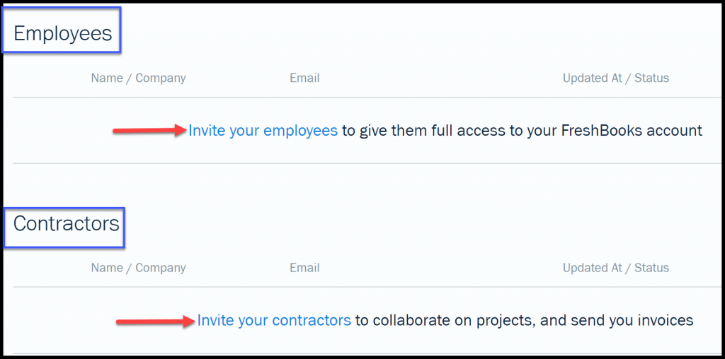 Select Employee or Contractor to Invite to Time Tracker in FreshBooks