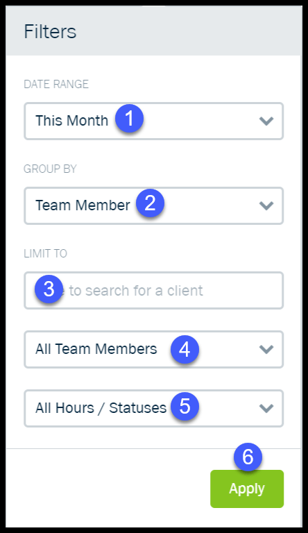 Report Filters for Time Tracking Reports in FreshBooks