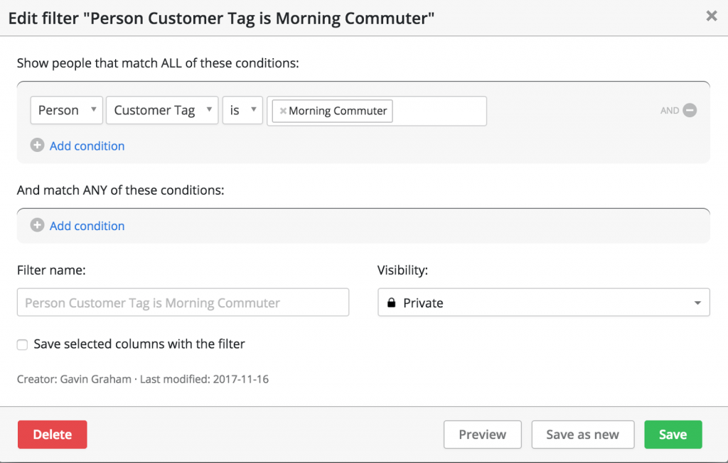Add a new filter to view your customer profiles by type