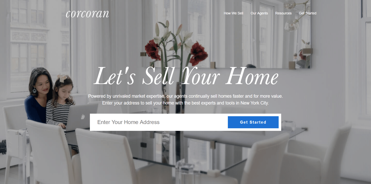 corcoran Real estate landing page