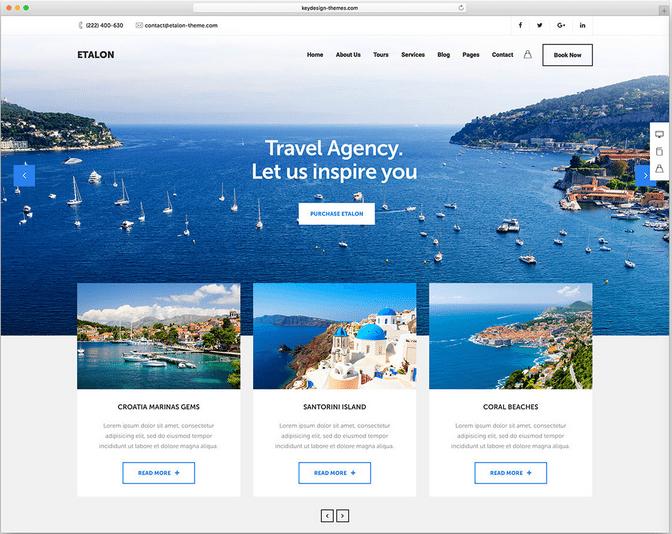 Etalon wordpress travel themes