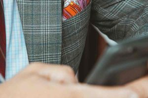 Closeup of a businessman checkered suit