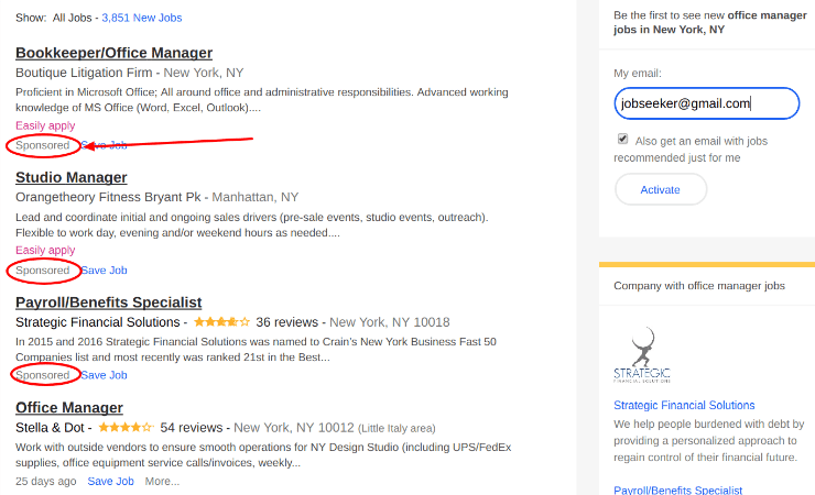 Indeed Job Postings that are Sponsored