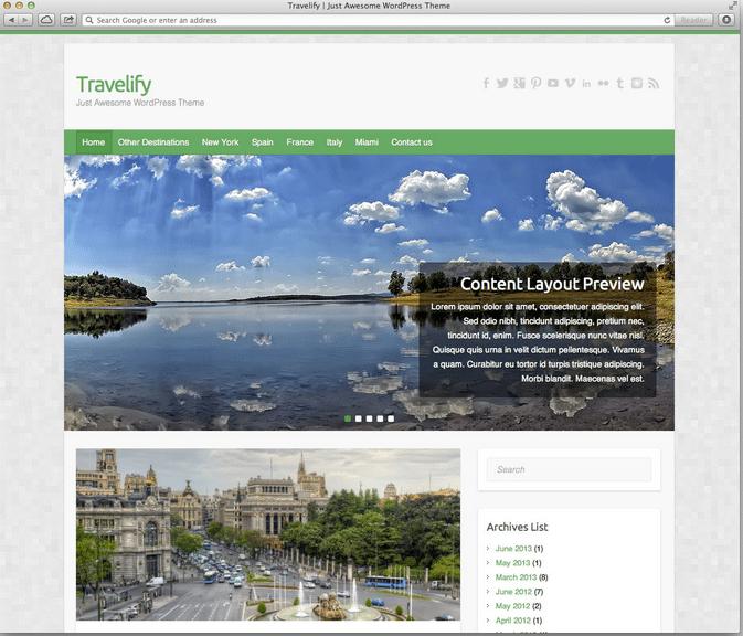 Travelify wordpress travel themes
