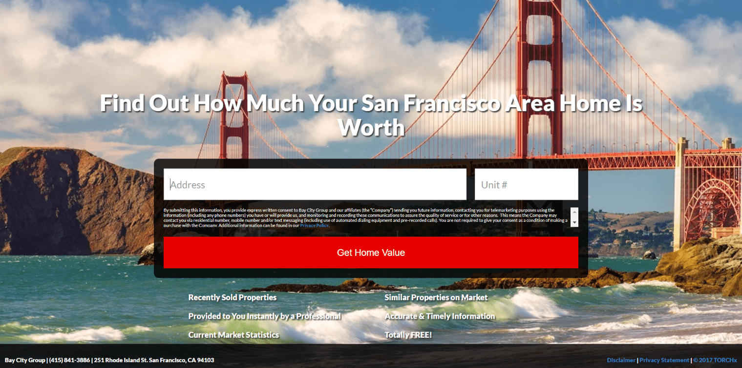 Real estate landing pages San Francicsco home value page