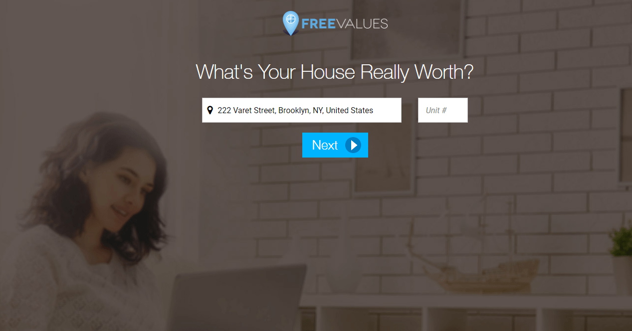 Real estate landing page-freevalues screenshot