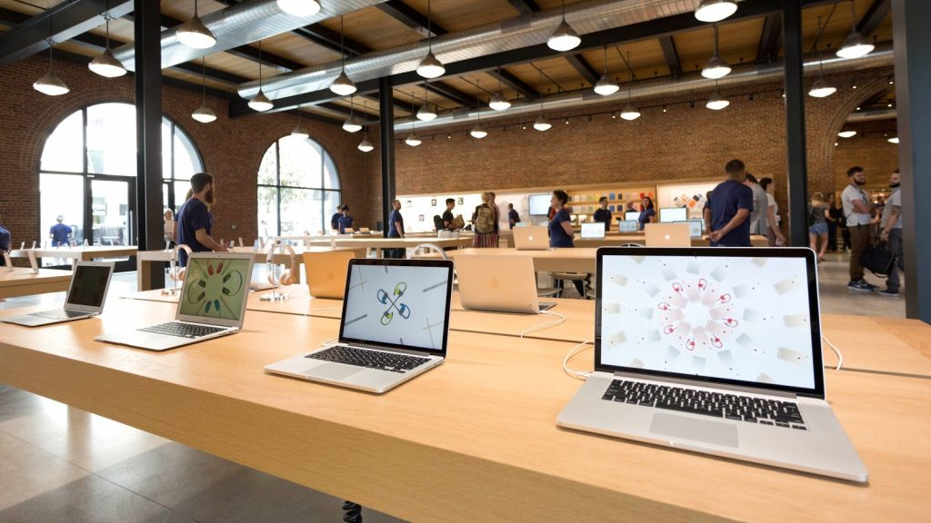 Macs displayed in an Apple store