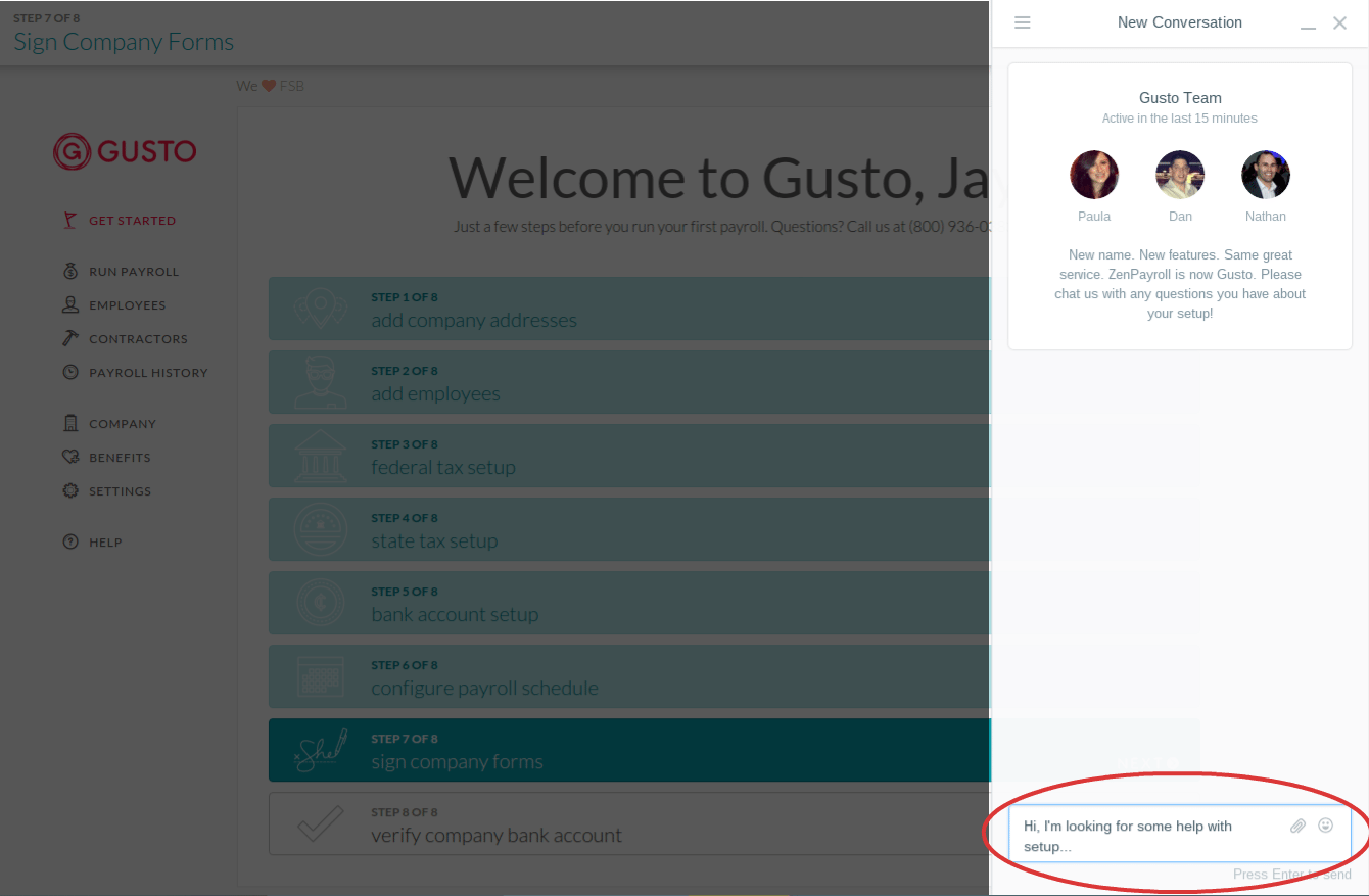 Gusto's handy live chat is available to help walk you through the software