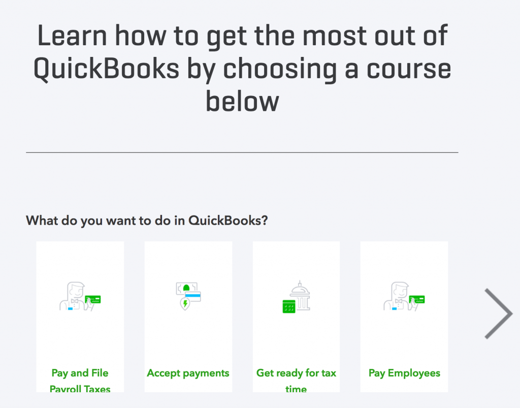 QuickBooks' help documentation includes many tutorials
