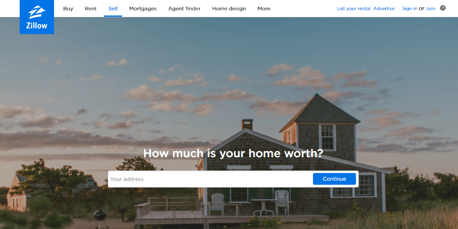 Real estate landing pages- zillow screenshot