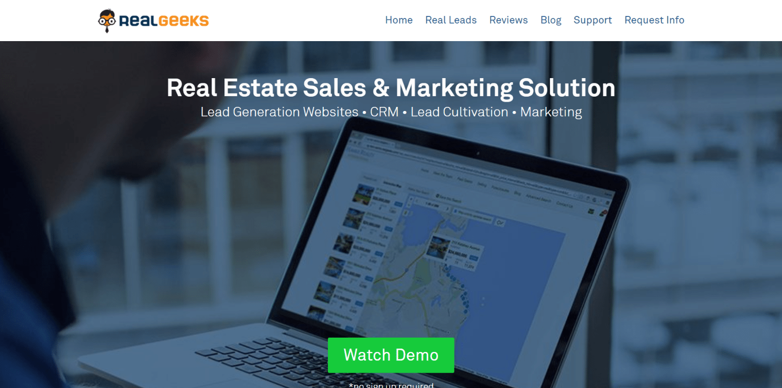 real geeks Real estate landing page
