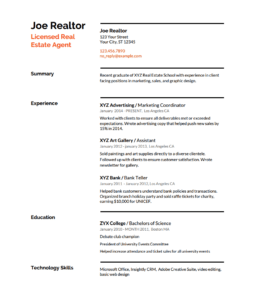 Free Real Estate Resume Templates. RealEstateResumeTemplateNewAgent.pdf