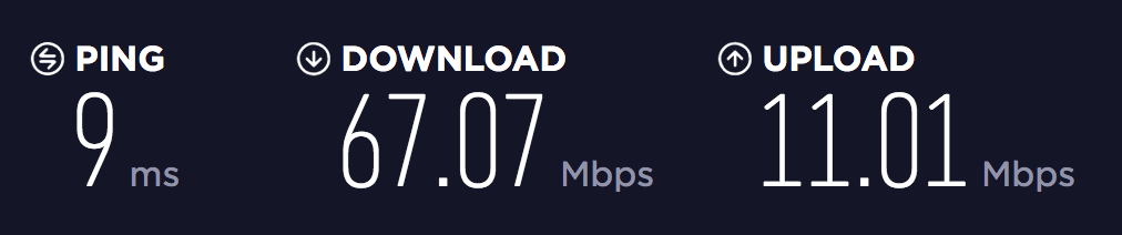 An example of VoIP speed test results
