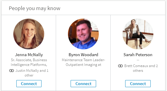 Screenshot of LinkedIn's People You May Know feature