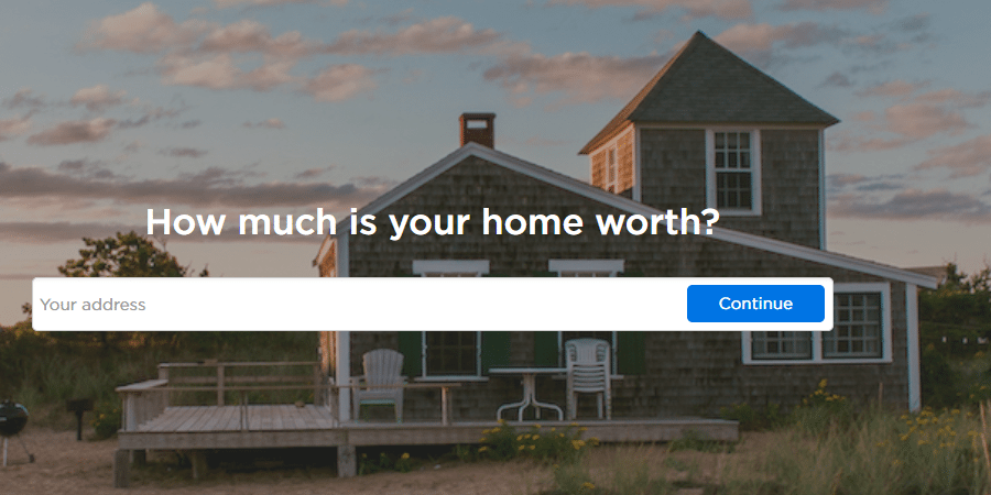 Real estate landing page- zillow screenshot