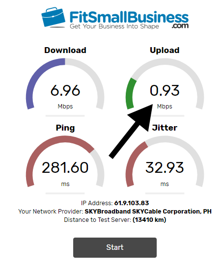 The VoIP speed test will give you your download and upload speeds