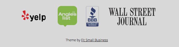 business website design: footer