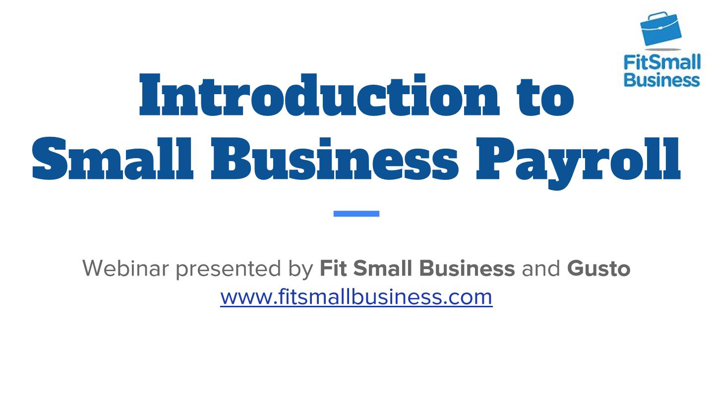 Payroll Webinar for Small Businesses