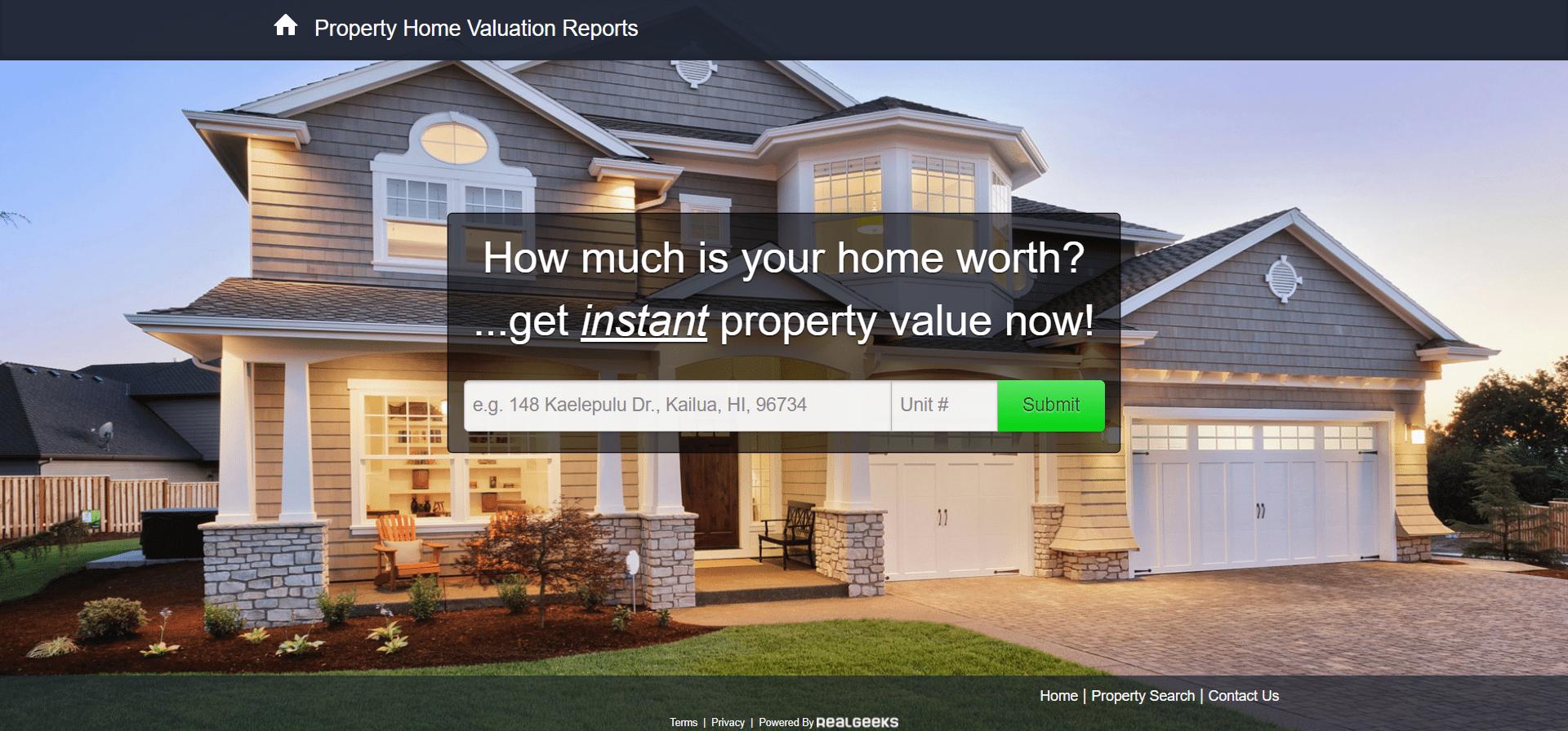 Real Geeks - Real estate landing page