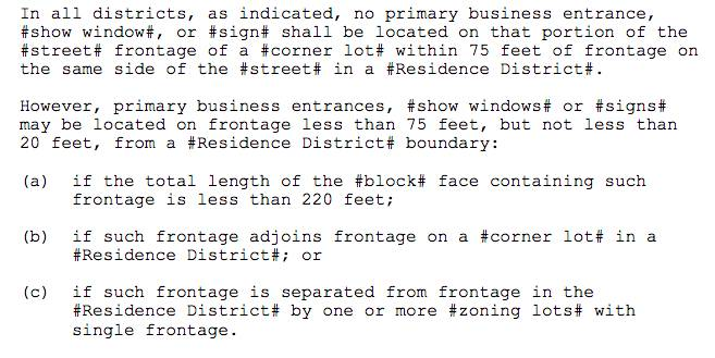 Screenshot of NYC Signage Rules for Commercial Corner Lot Properties