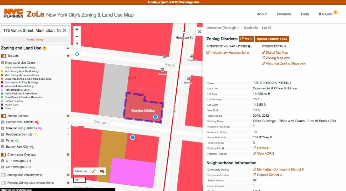 Screenshot of New York City's Zoning and Land Use Map Report for a Building