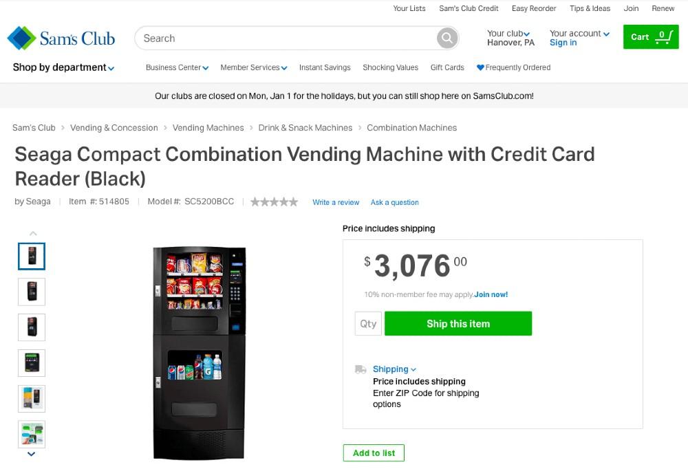 Screenshot of Compact Combo Vending Machine