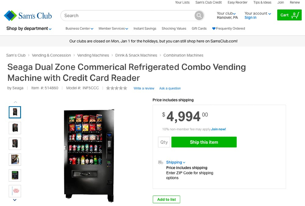 Screenshot of Commercial Refrigerated Combo Vending Machine