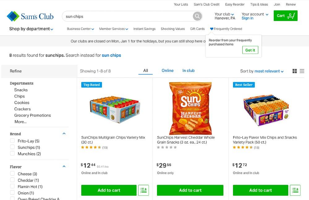 Screenshot of Sun Chips Search