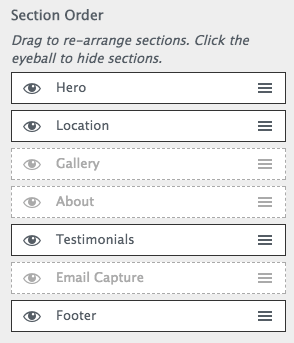 business website design: section order