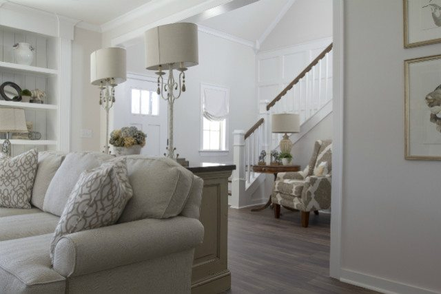 home staging living room neutral paint