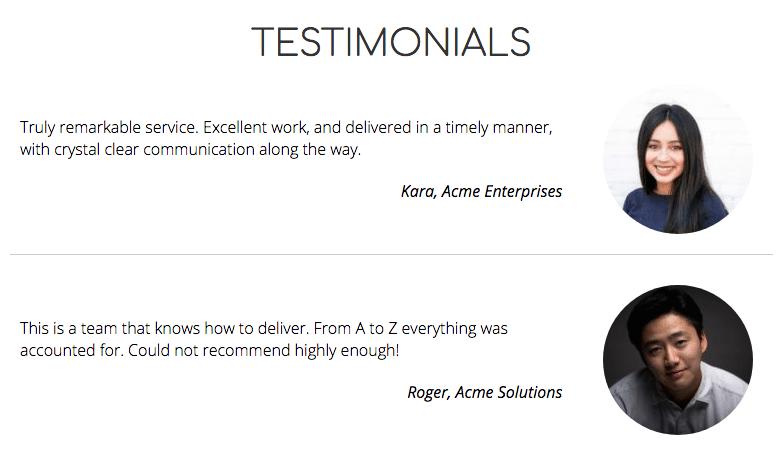 business website design: testimonials