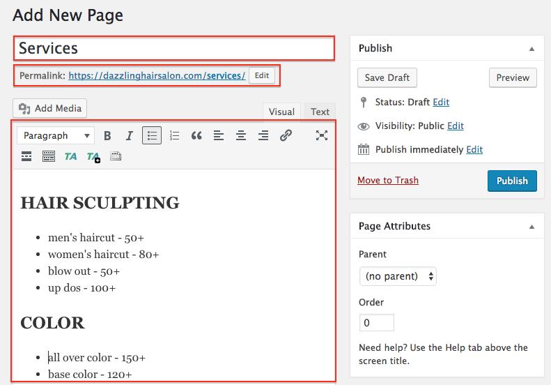 Salon Website: Create new page