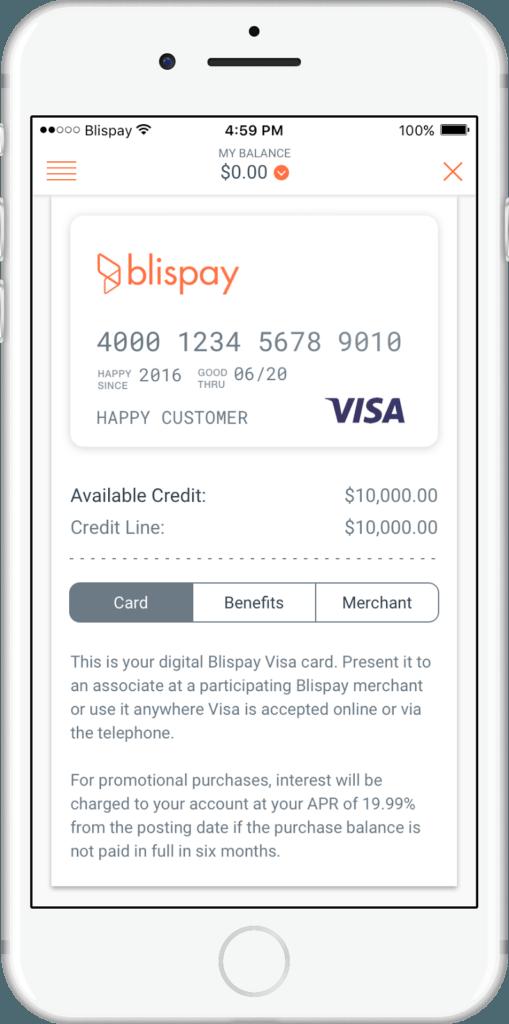Blispay customer financing temporary visa card
