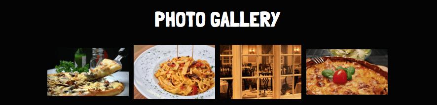 Restaurant Website: Photo Gallery