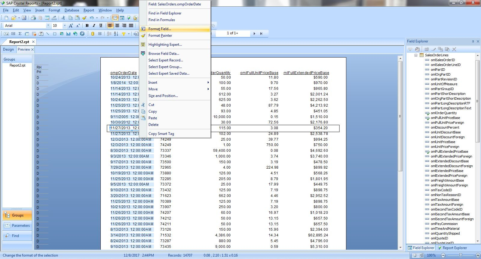 cagr crystal reports