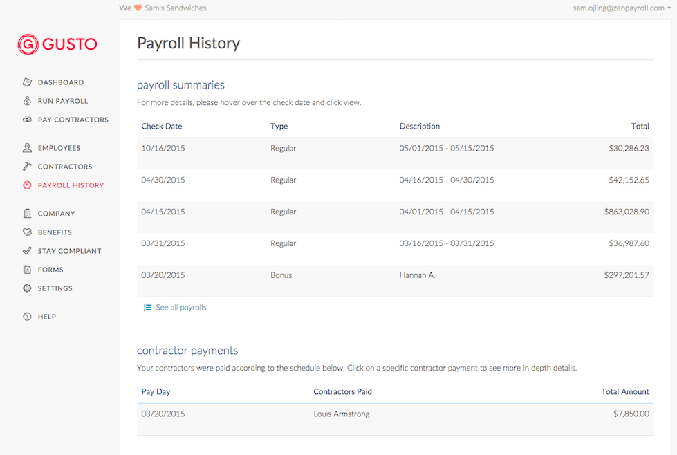 adp competitors - gusto screenshot showing payroll history