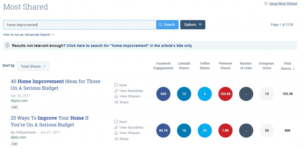 Use Buzzsumo to find trending articles and get more contractor leads