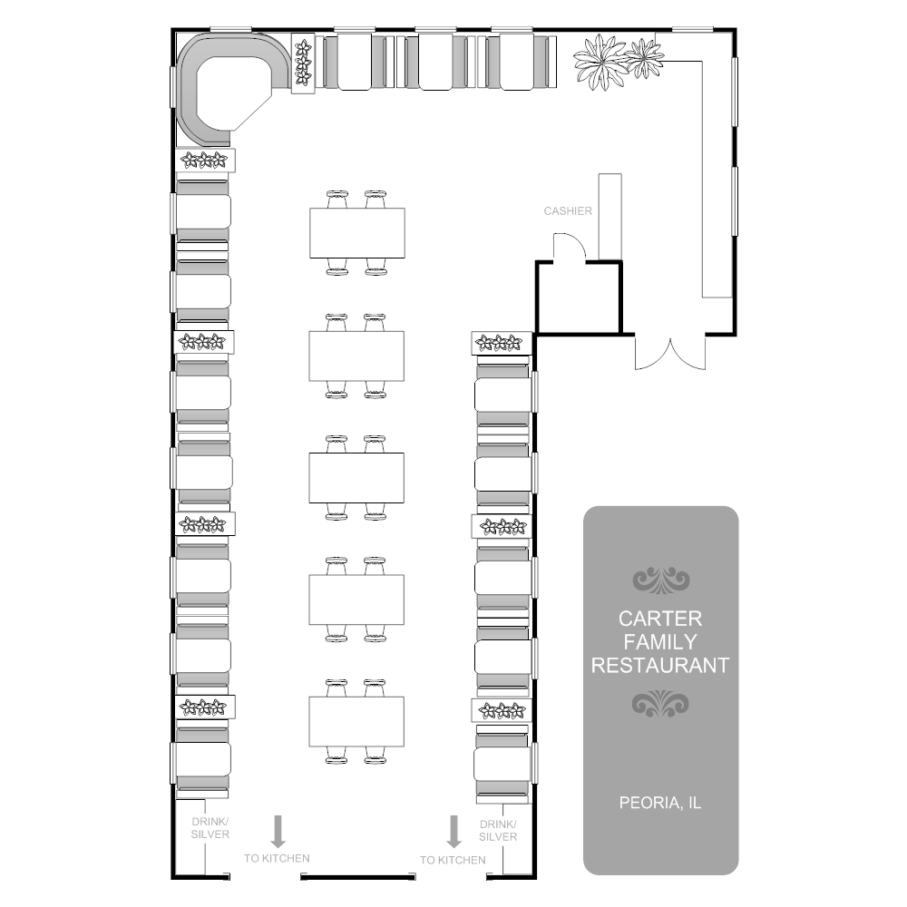 Restaurant floor plan mixed seating areas