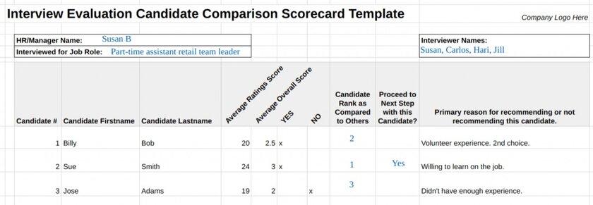 Interview Evaluation Candidate Comparison Scorecard Template