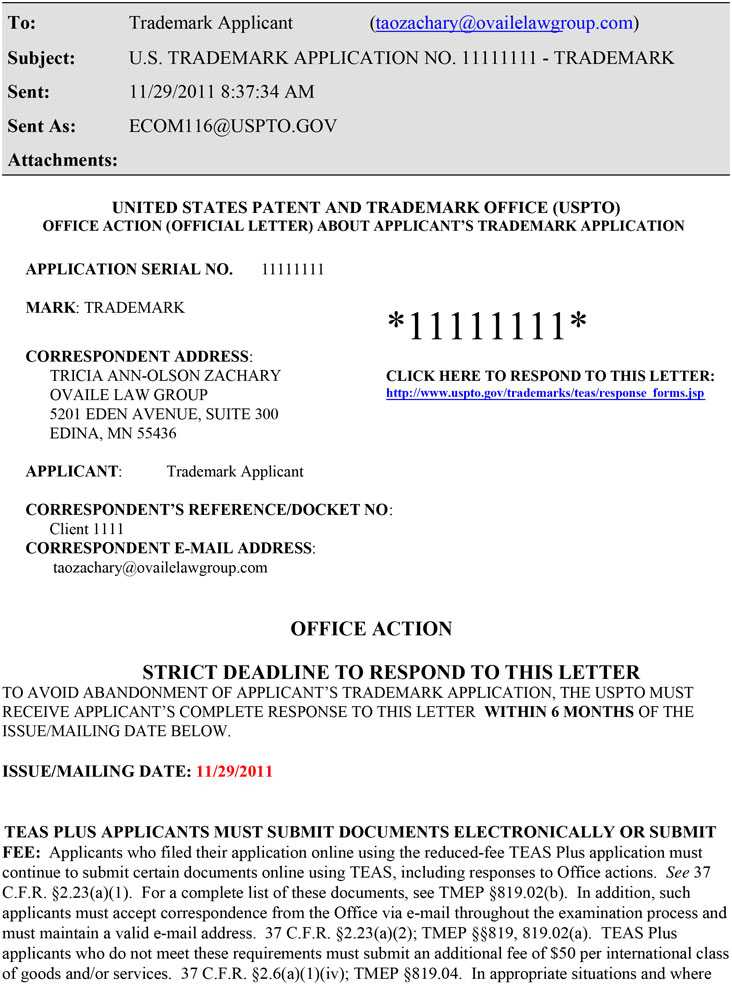 Screenshot of Trademark Applicant Email