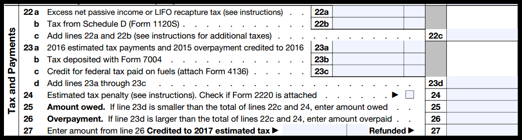 Form 1120S Tax and Payments Section