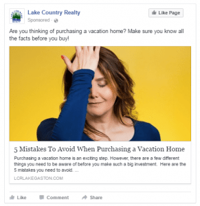 Example real estate post for Facebook - Facebook for Realtors