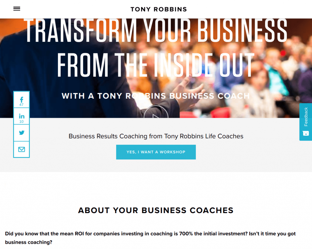 Tony Robbins Business Coaching Services