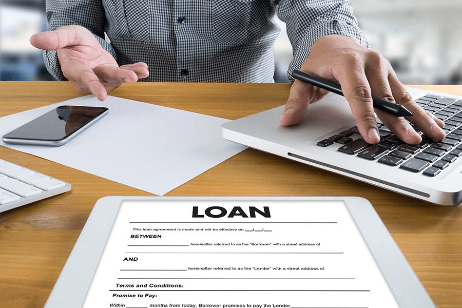 The word loan on a screen