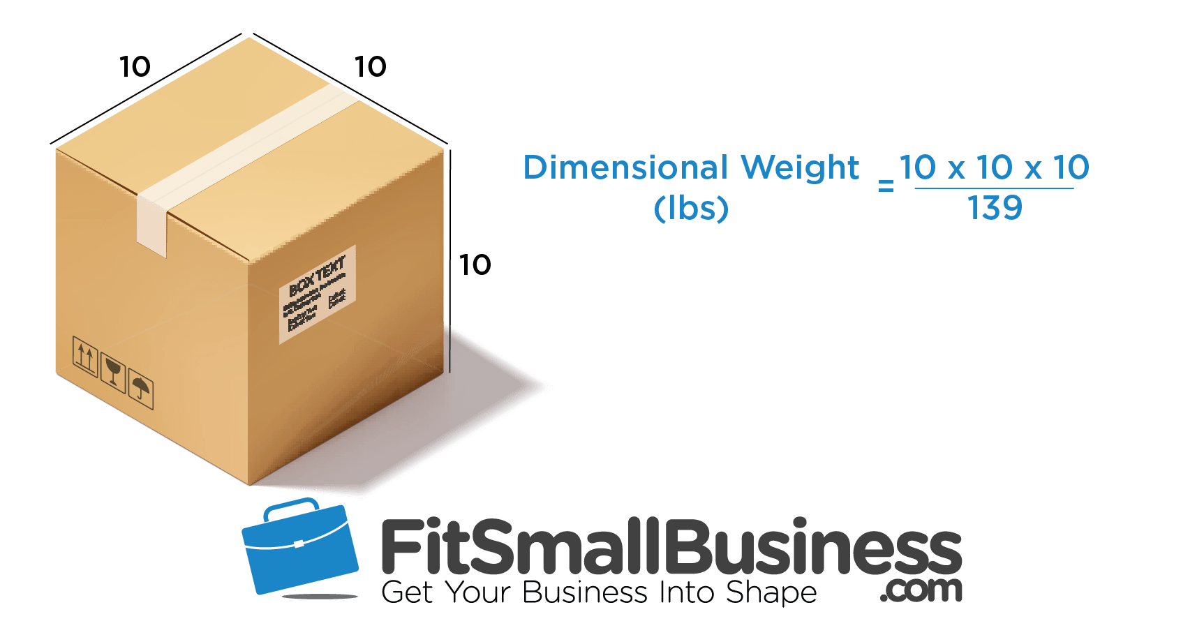 Dimensional Weight Calculator - UPS and FedEx for a 10 in box