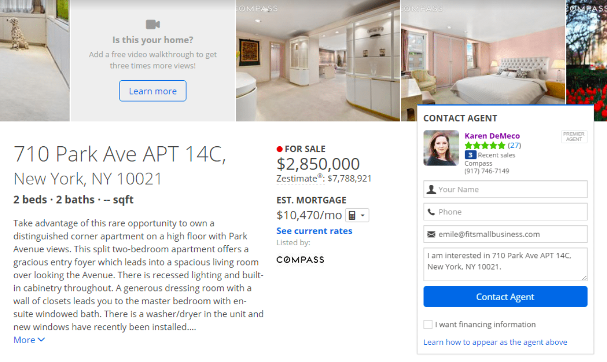 an example of a zillow premier listing